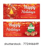 invitation merry christmas... | Shutterstock .eps vector #772446649