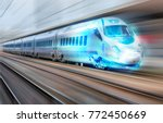white high speed train runs on... | Shutterstock . vector #772450669