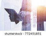 close up of businessman hand... | Shutterstock . vector #772451851