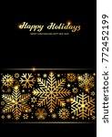 sparkling golden snowflakes ... | Shutterstock .eps vector #772452199