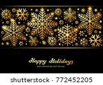 sparkling golden snowflakes ... | Shutterstock .eps vector #772452205