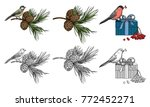 bird  branch of cedar with... | Shutterstock .eps vector #772452271