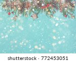 christmas background with... | Shutterstock . vector #772453051