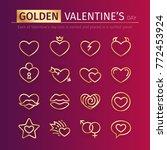 set of gold valentine's day...   Shutterstock .eps vector #772453924