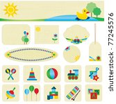 colorful toy icons and banner... | Shutterstock .eps vector #77245576