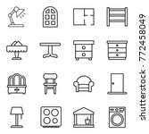 thin line icon set   table lamp ... | Shutterstock .eps vector #772458049