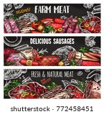 meat and sausage chalkboard... | Shutterstock .eps vector #772458451
