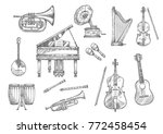 musical instrument sketch set... | Shutterstock .eps vector #772458454