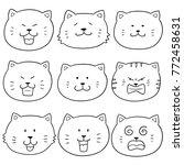 vector set of cat face | Shutterstock .eps vector #772458631