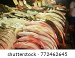 various fish on display at the... | Shutterstock . vector #772462645
