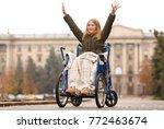 happy teenage girl in... | Shutterstock . vector #772463674