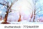 beautiful winter landscape... | Shutterstock . vector #772464559