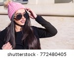 young stylish woman wearing... | Shutterstock . vector #772480405