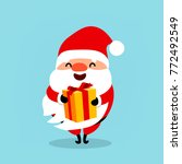 funny santa claus with a gift.... | Shutterstock .eps vector #772492549