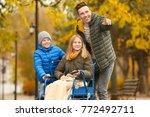 teenage girl in wheelchair with ... | Shutterstock . vector #772492711