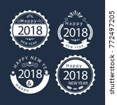 white new year badges on a navy ... | Shutterstock .eps vector #772497205