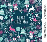 merry christmas card with... | Shutterstock .eps vector #772500001