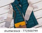 quilted vest and woolen sweater.... | Shutterstock . vector #772500799