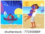 couple in love swims on purple... | Shutterstock .eps vector #772500889