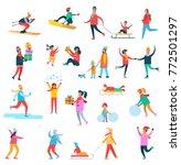 winter activities collection of ...   Shutterstock .eps vector #772501297