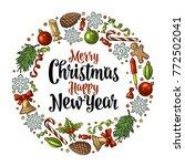 circle shape set for merry... | Shutterstock .eps vector #772502041