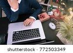 business woman working on desk...   Shutterstock . vector #772503349