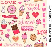 cute desserts illustration with ... | Shutterstock .eps vector #772506079