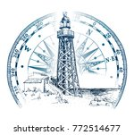 hand drawn lighthouse with sea... | Shutterstock .eps vector #772514677