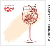 sketched card with tasty wine... | Shutterstock .eps vector #772515991