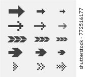black pixel arrows set vector...