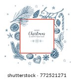 vector vintage hand drawn... | Shutterstock .eps vector #772521271