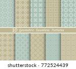 set of seamless line patterns.... | Shutterstock .eps vector #772524439