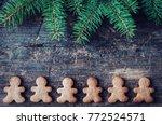 christmas fir tree with... | Shutterstock . vector #772524571