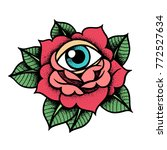 old school rose tattoo with eye.... | Shutterstock .eps vector #772527634