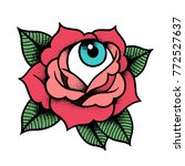 old school rose tattoo with eye.... | Shutterstock .eps vector #772527637