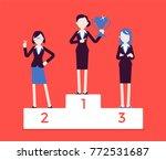 women put on pedestal of honor. ... | Shutterstock .eps vector #772531687