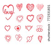 vector red hand drawn set with... | Shutterstock .eps vector #772531831