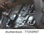 Close Up Of Inside Fighter Jet Cockpit - stock photo