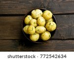 cooked boiled potatoes with... | Shutterstock . vector #772542634