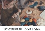 young girls in a knitting lesson | Shutterstock . vector #772547227