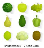 icons of green vegetables and...   Shutterstock .eps vector #772552381