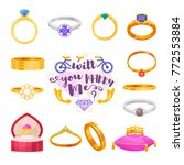 wedding rings vector set... | Shutterstock .eps vector #772553884