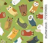 owls vector cartoon cute bird... | Shutterstock .eps vector #772554001