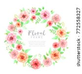 floral wreath in watercolor... | Shutterstock .eps vector #772558327