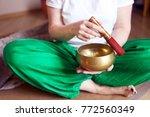 tibetan singing bowl in the... | Shutterstock . vector #772560349