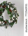 christmas wreath of spruce with ... | Shutterstock . vector #772560931