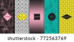 set of abstract geometric... | Shutterstock .eps vector #772563769