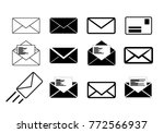 letter envelope icon collection ... | Shutterstock .eps vector #772566937