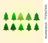 set of different christmas tree ... | Shutterstock .eps vector #772567441