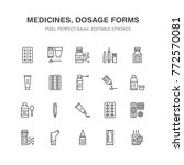 medicines  dosage forms line... | Shutterstock .eps vector #772570081